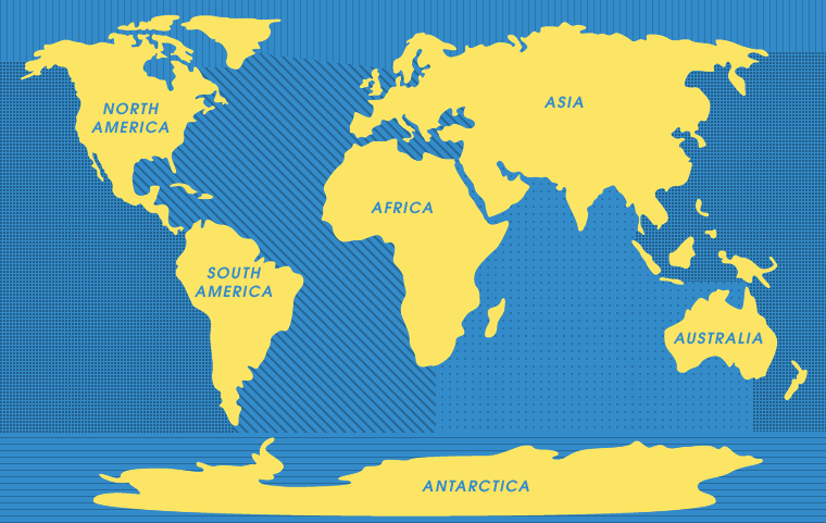 Oceans Of The World The Continents Of The World - World map oceans labeled